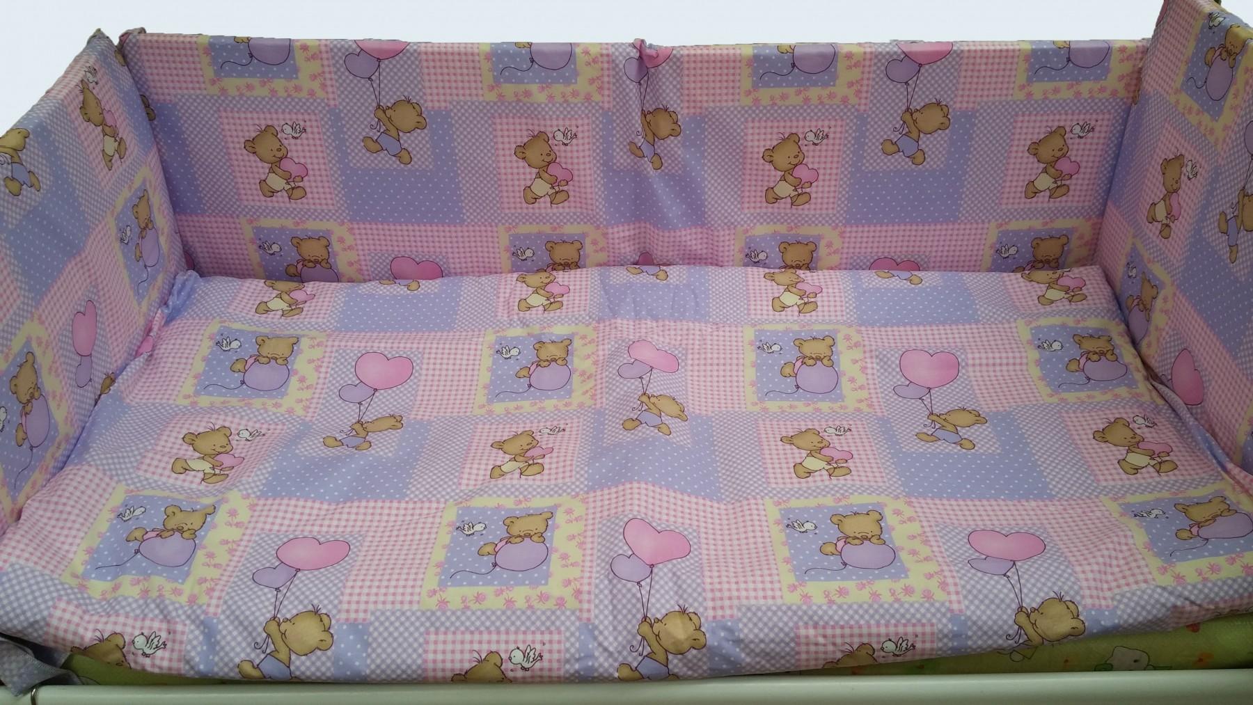 Lenjerie cu 6 piese Ursulet cu baloane fundal roz 110 cm x 70 cm
